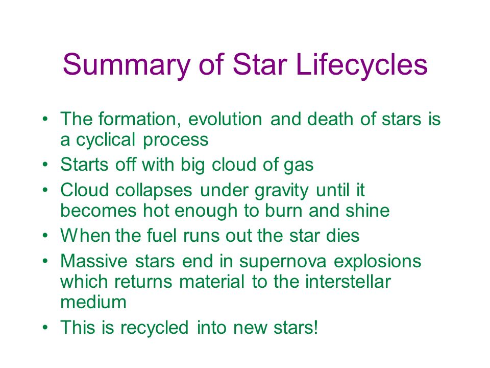 Summary of Star Lifecycles