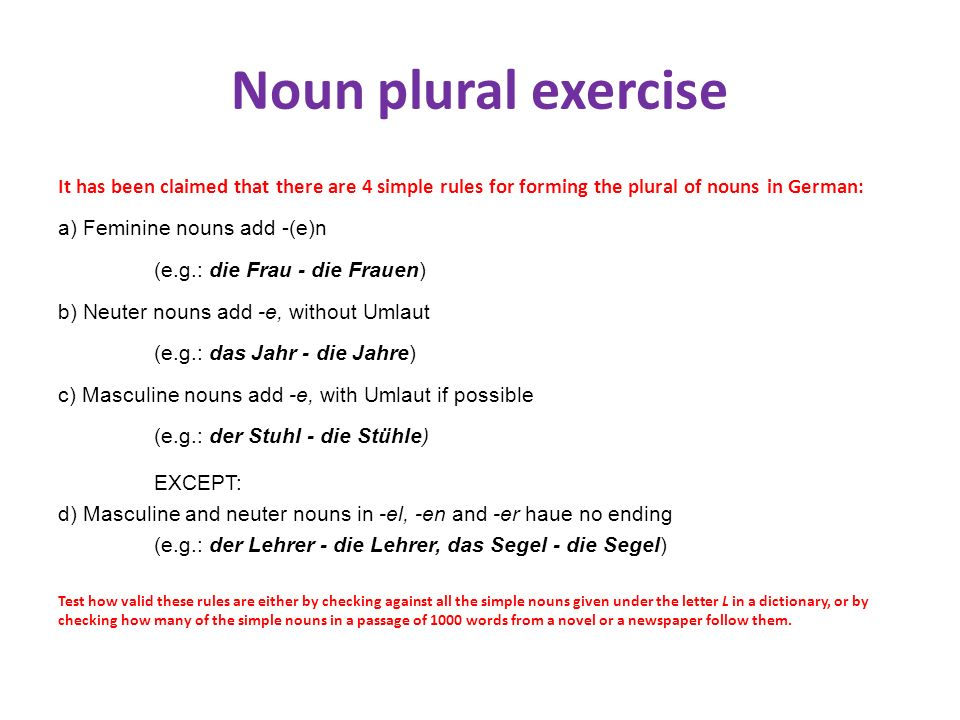 Noun plural exercise It has been claimed that there are 4 simple rules for forming the plural of nouns in German: