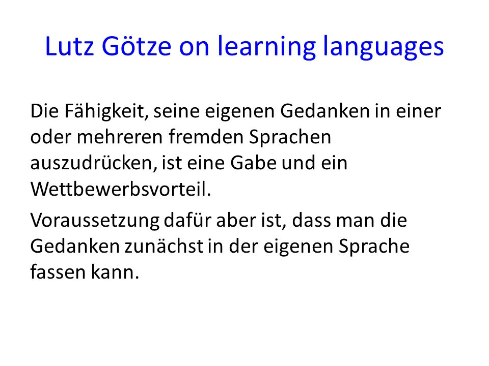 Lutz Götze on learning languages