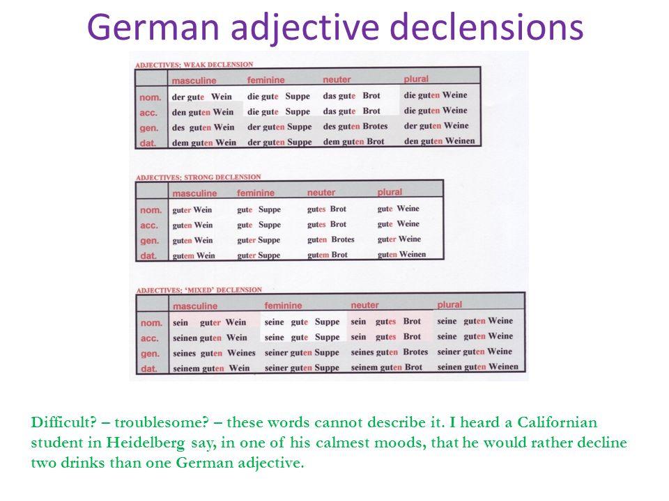 German adjective declensions