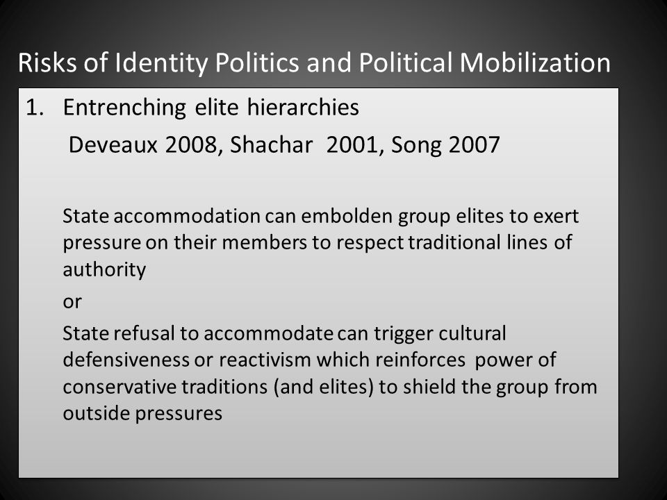 Risks of Identity Politics and Political Mobilization