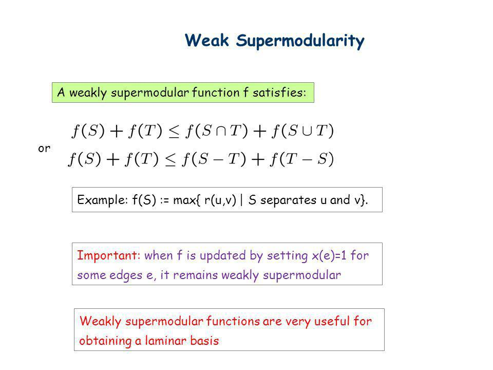 Weak Supermodularity A weakly supermodular function f satisfies: or