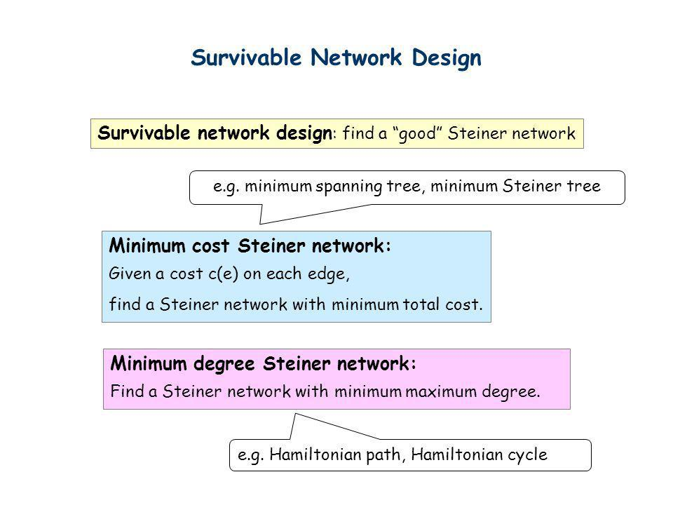 e.g. minimum spanning tree, minimum Steiner tree