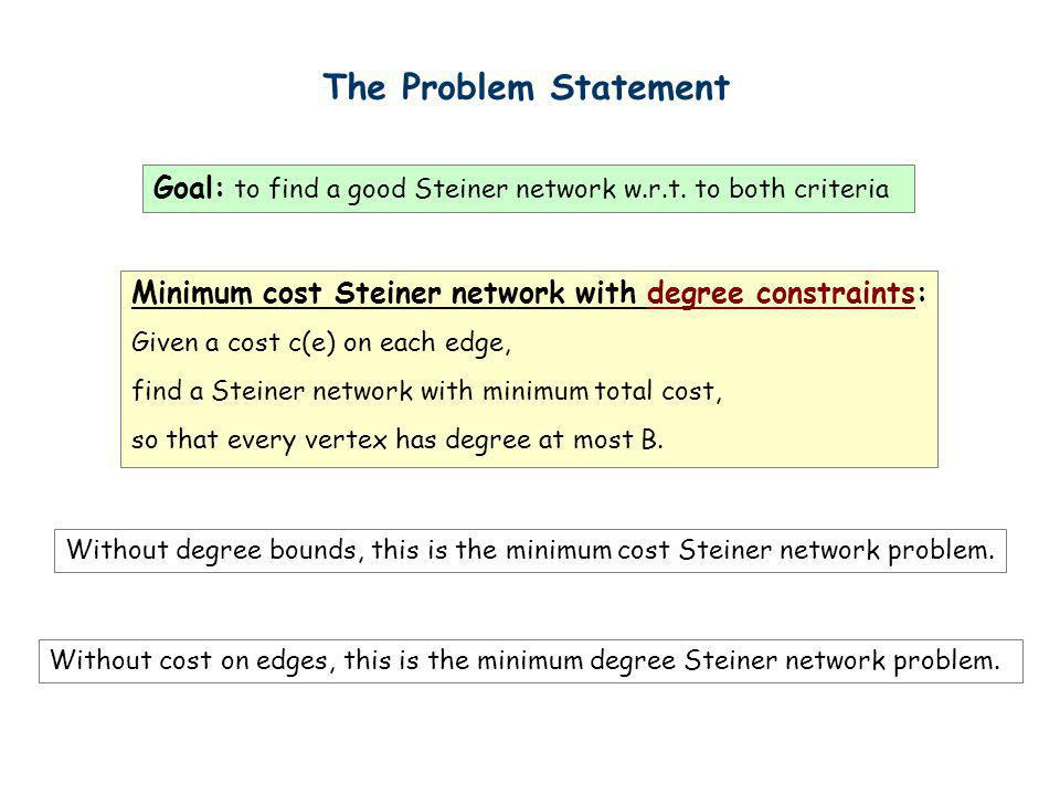 The Problem Statement Goal: to find a good Steiner network w.r.t. to both criteria. Minimum cost Steiner network with degree constraints: