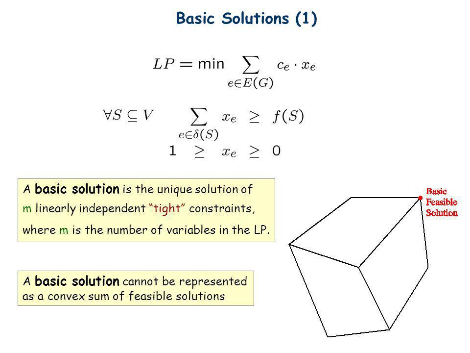 Basic Solutions (1) A basic solution is the unique solution of