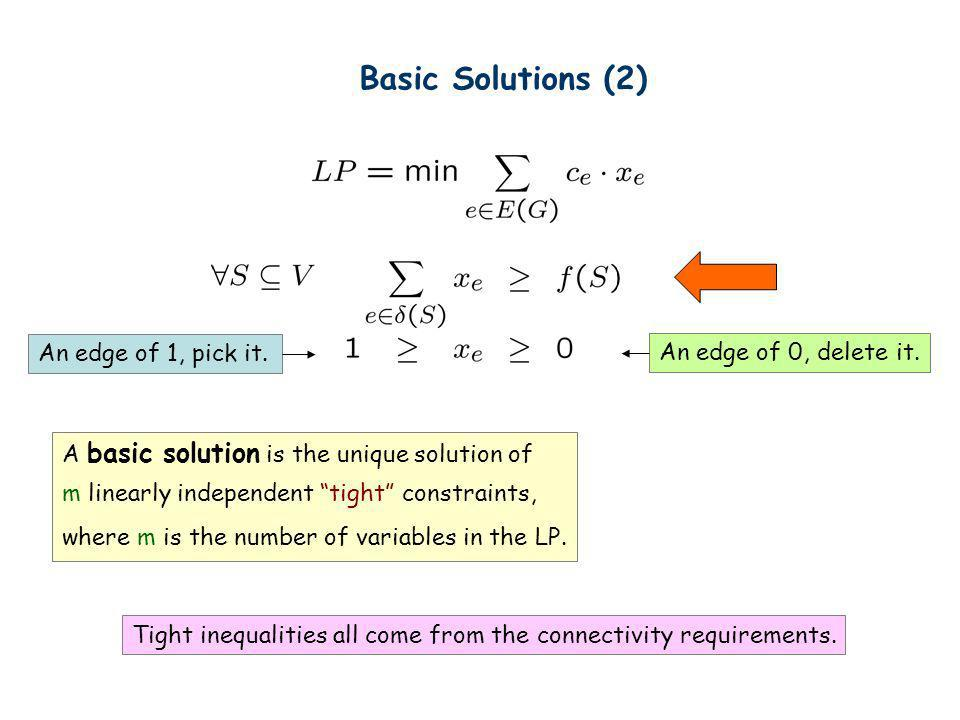 Basic Solutions (2) An edge of 1, pick it. An edge of 0, delete it.