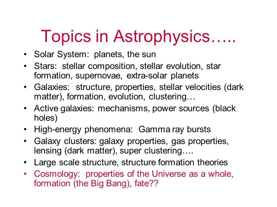 Topics in Astrophysics…..