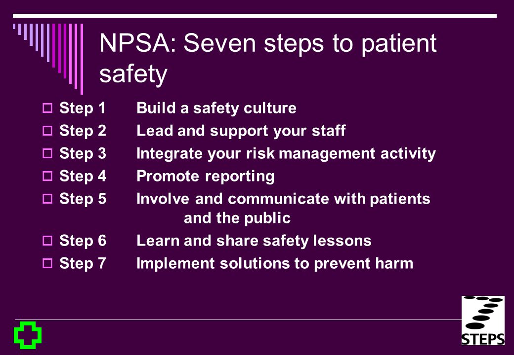 NPSA: Seven steps to patient safety