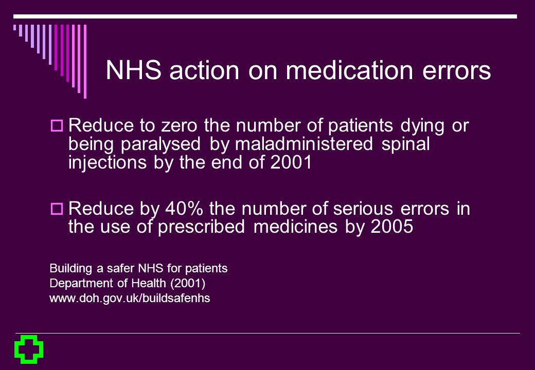 NHS action on medication errors