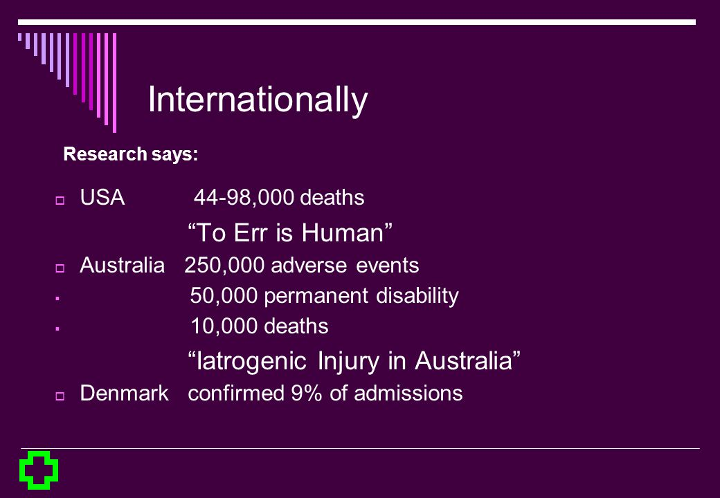 Internationally To Err is Human Iatrogenic Injury in Australia