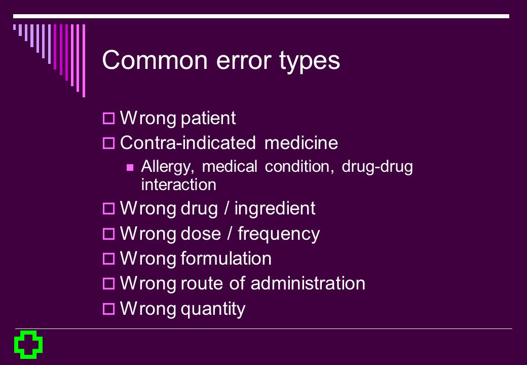 Common error types Wrong patient Contra-indicated medicine