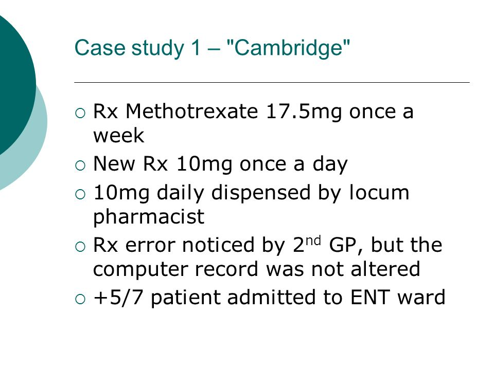 Case study 1 – Cambridge Rx Methotrexate 17.5mg once a week