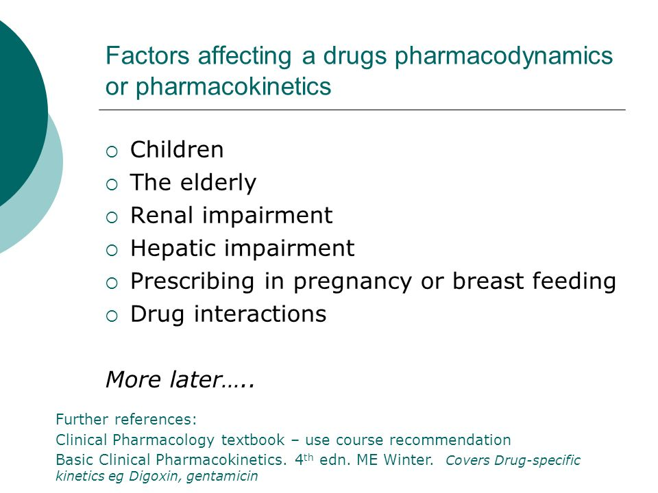 Factors affecting a drugs pharmacodynamics or pharmacokinetics