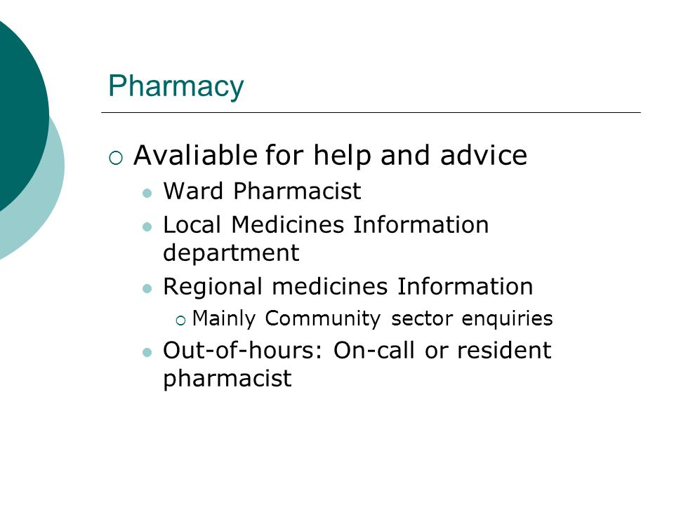 Pharmacy Avaliable for help and advice Ward Pharmacist