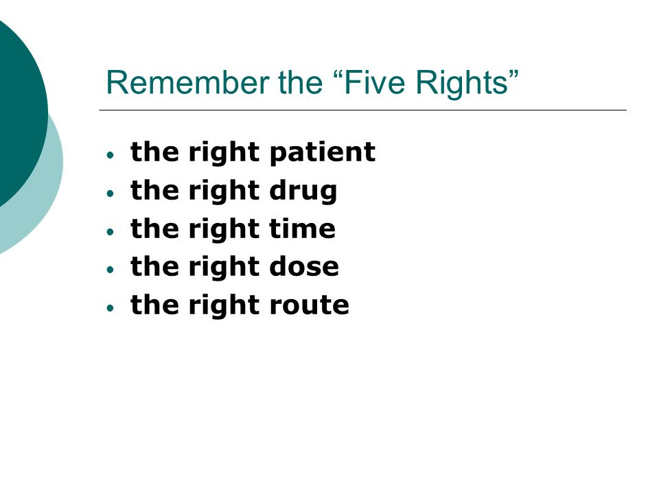 Remember the Five Rights