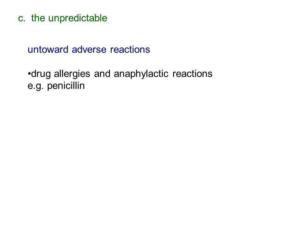 c. the unpredictableuntoward adverse reactions. drug allergies and anaphylactic reactions.