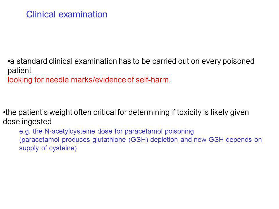 Clinical examination a standard clinical examination has to be carried out on every poisoned patient.