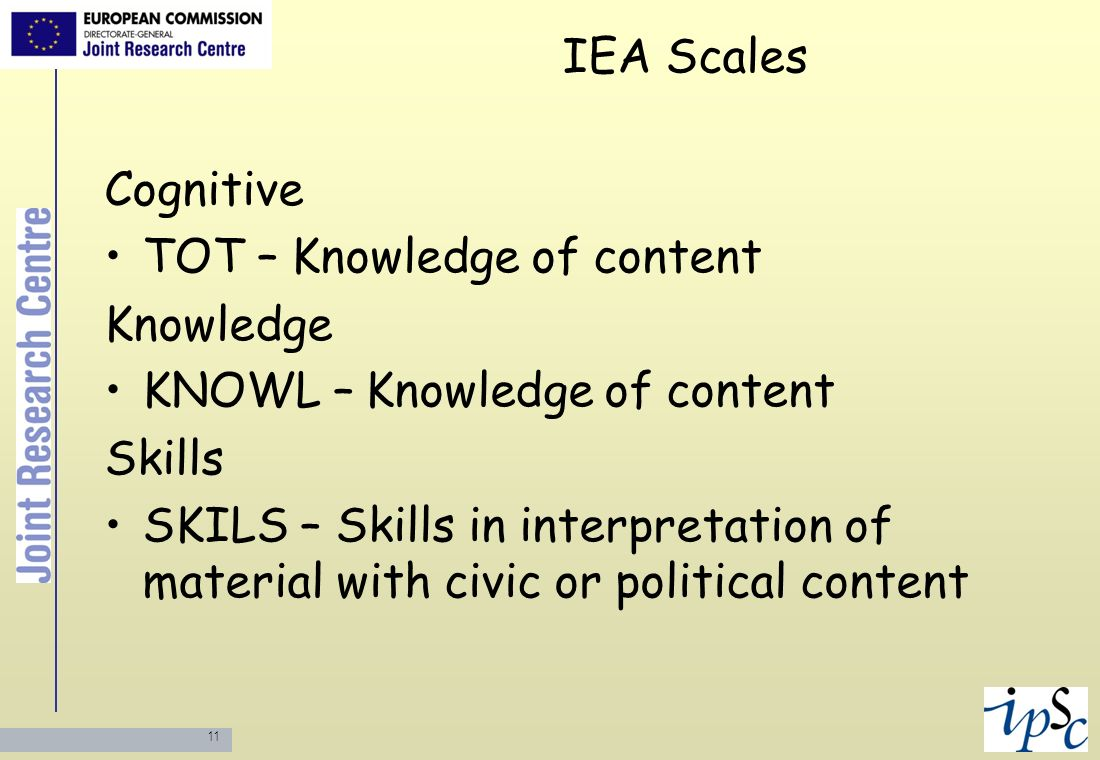 IEA Scales Cognitive. TOT – Knowledge of content. Knowledge. KNOWL – Knowledge of content. Skills.