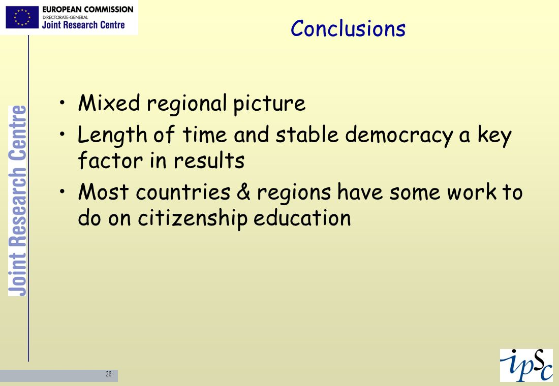 Conclusions Mixed regional picture. Length of time and stable democracy a key factor in results.
