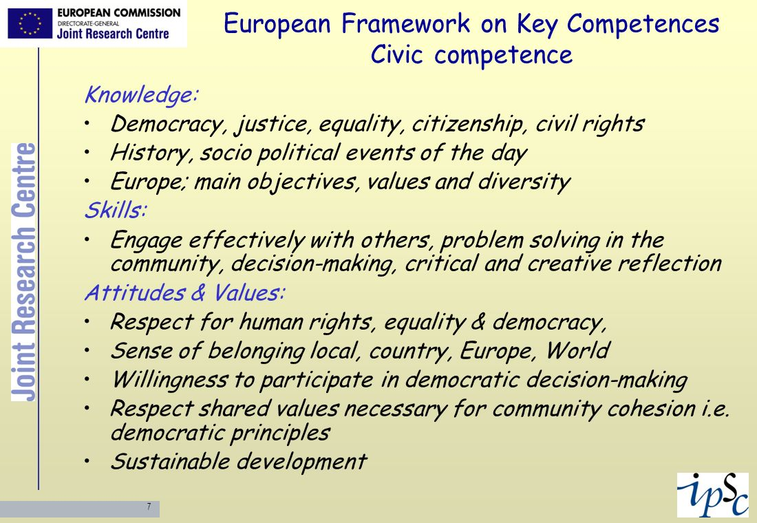 European Framework on Key Competences Civic competence