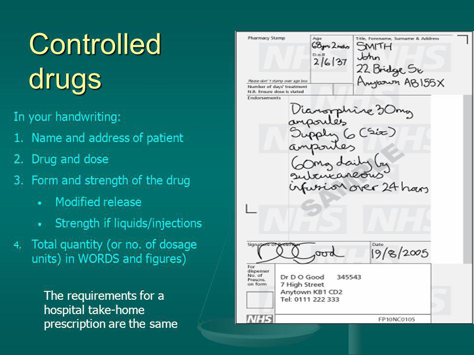 Controlled drugs In your handwriting: Name and address of patient