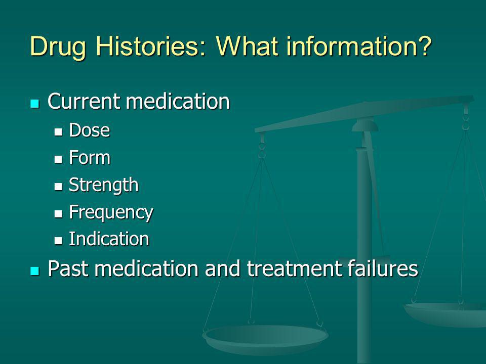 Drug Histories: What information