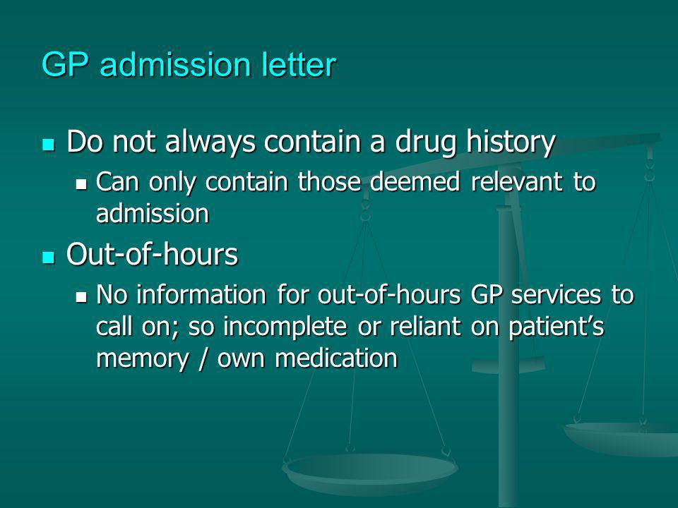 GP admission letter Do not always contain a drug history Out-of-hours