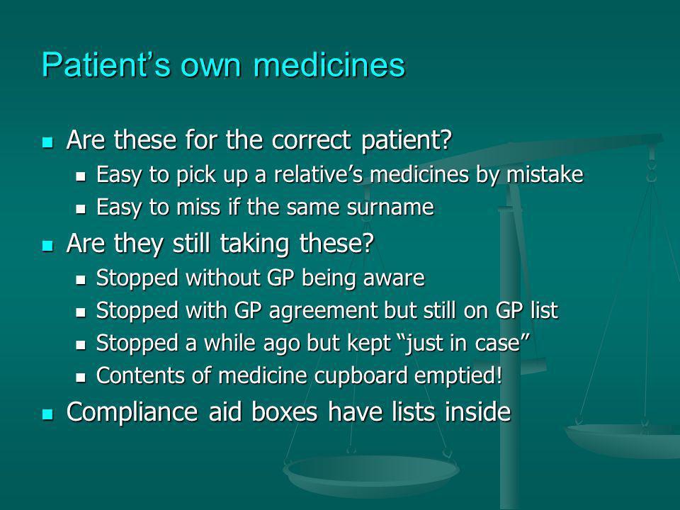Patient's own medicines