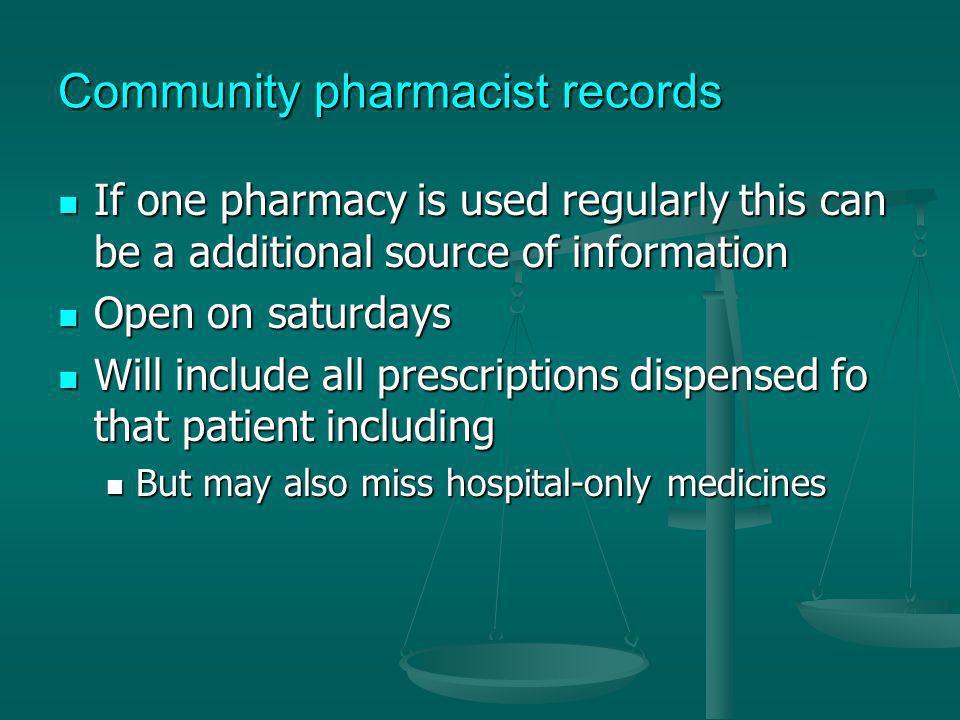 Community pharmacist records