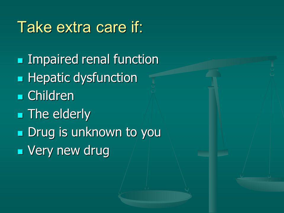 Take extra care if: Impaired renal function Hepatic dysfunction