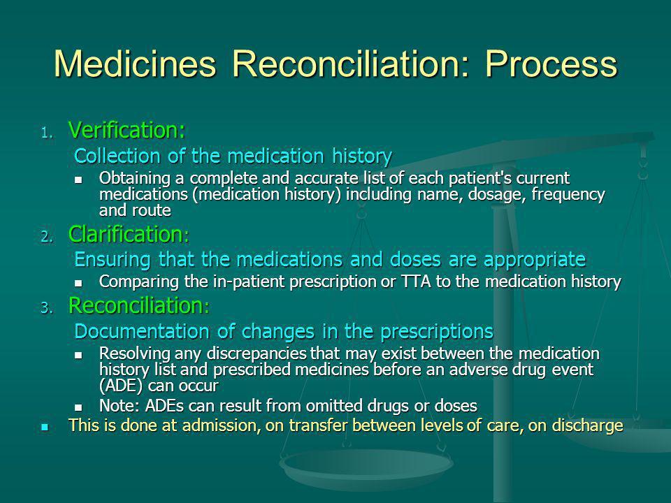 Medicines Reconciliation: Process