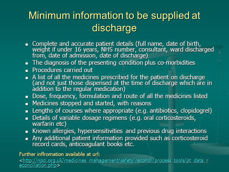 Minimum information to be supplied at discharge