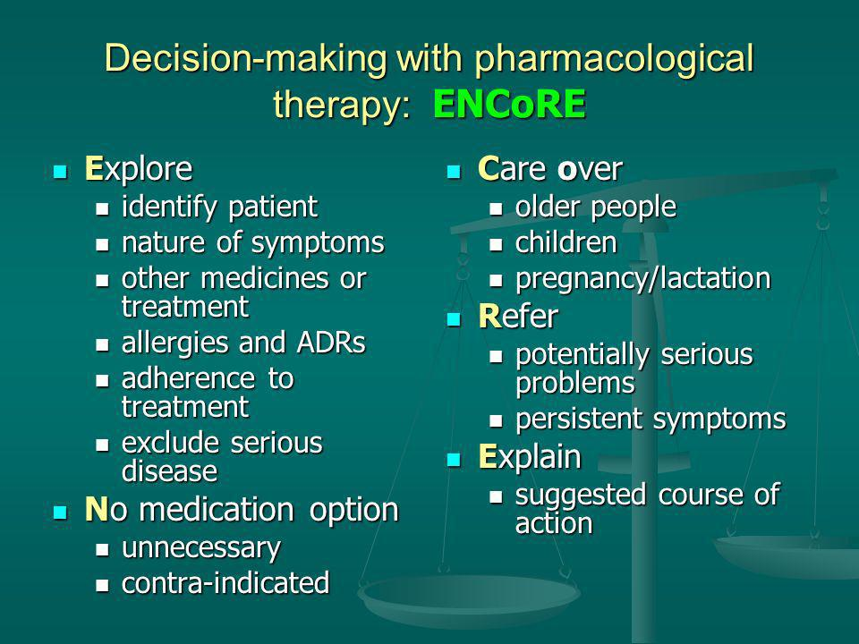 Decision-making with pharmacological therapy: ENCoRE