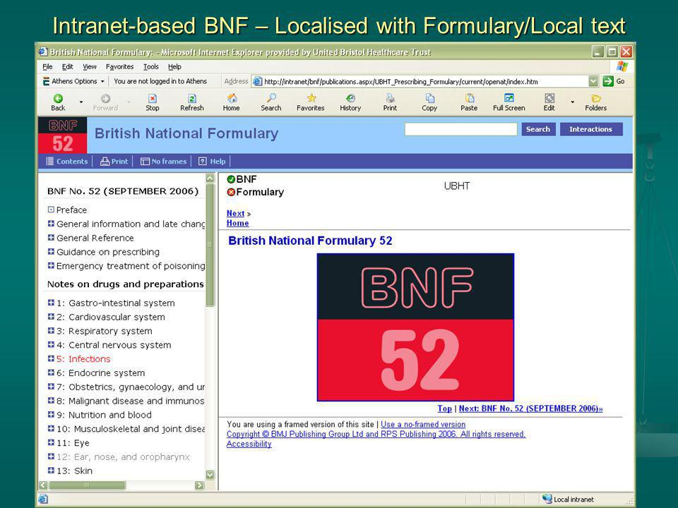 Intranet-based BNF – Localised with Formulary/Local text