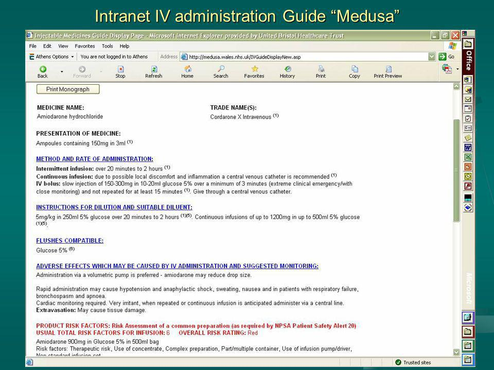 Intranet IV administration Guide Medusa