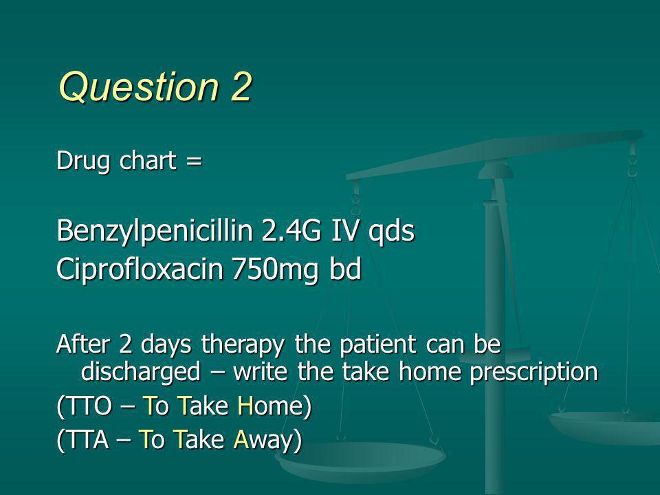Question 2 Benzylpenicillin 2.4G IV qds Ciprofloxacin 750mg bd