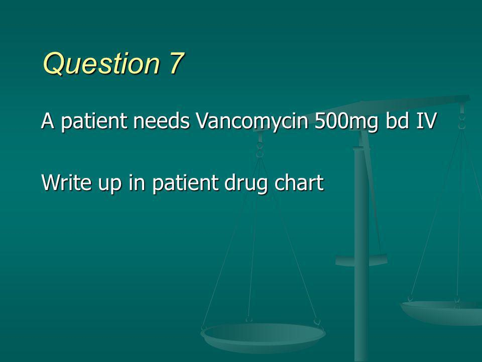 Question 7 A patient needs Vancomycin 500mg bd IV