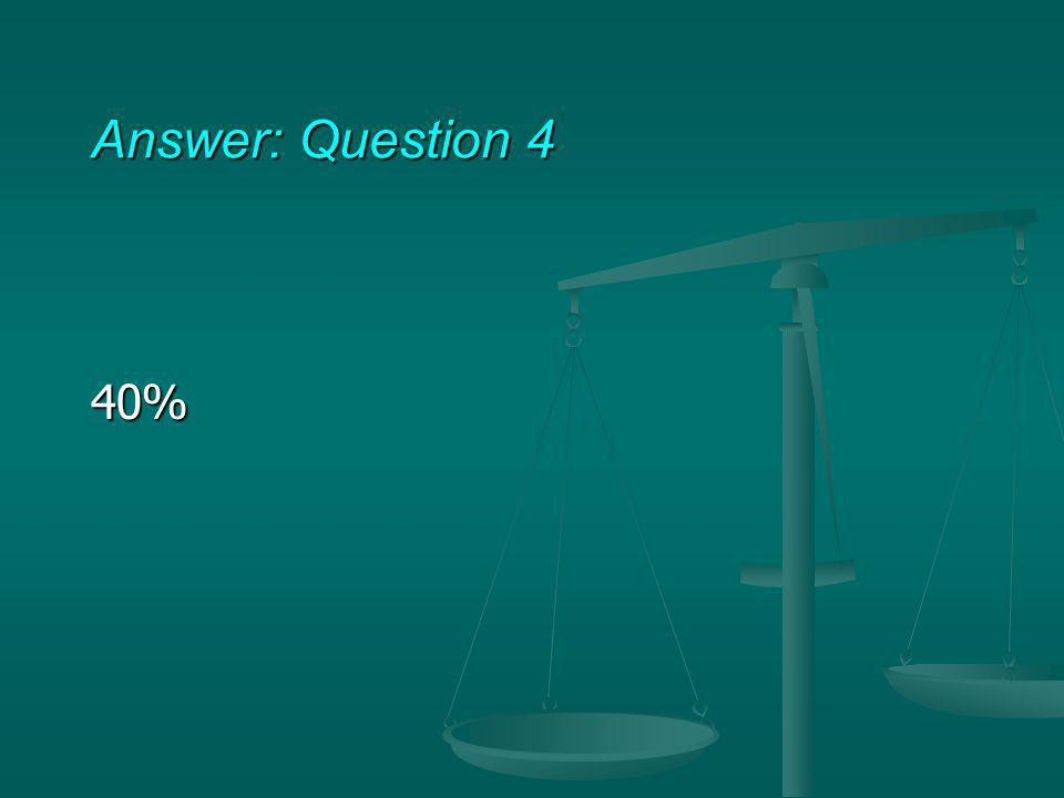 Answer: Question 4 40%