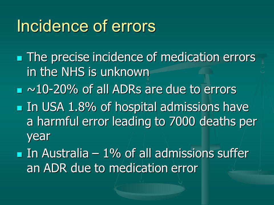 Incidence of errors The precise incidence of medication errors in the NHS is unknown. ~10-20% of all ADRs are due to errors.