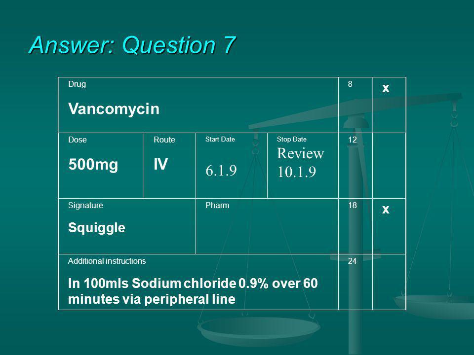Answer: Question 7 Vancomycin 500mg IV 6.1.9 Review 10.1.9 x Squiggle