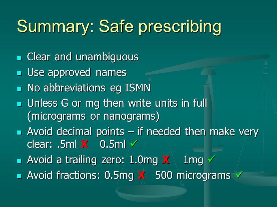 Summary: Safe prescribing
