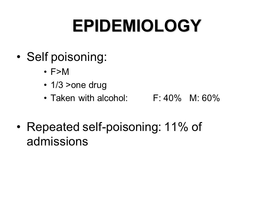 EPIDEMIOLOGY Self poisoning: