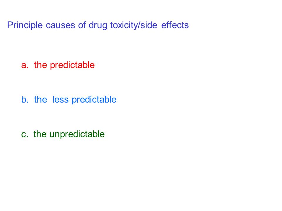 Principle causes of drug toxicity/side effects