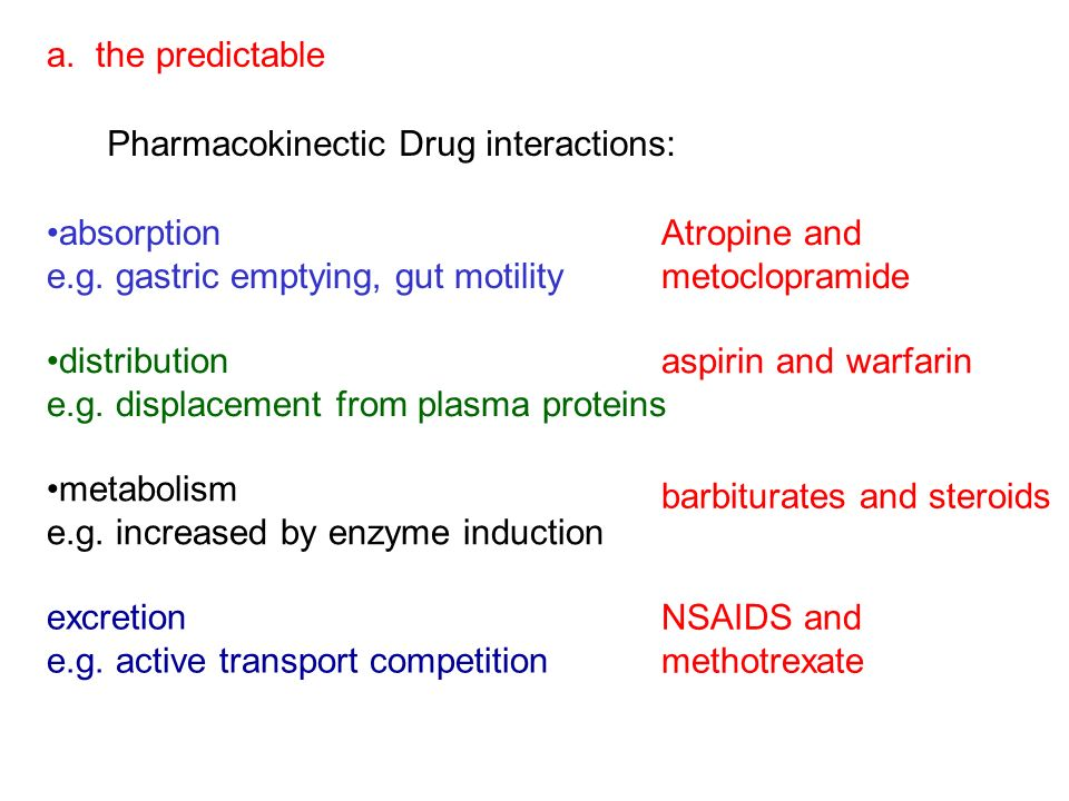 a. the predictable Pharmacokinectic Drug interactions: absorption. e.g. gastric emptying, gut motility.