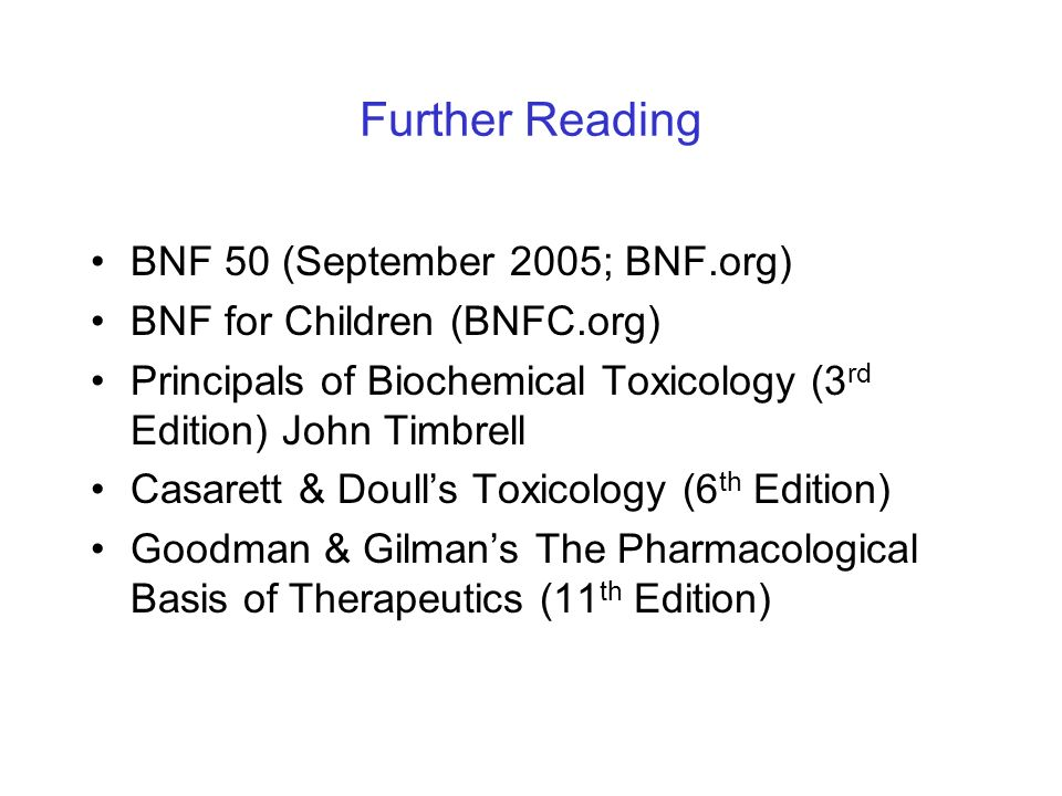 Further Reading BNF 50 (September 2005; BNF.org)
