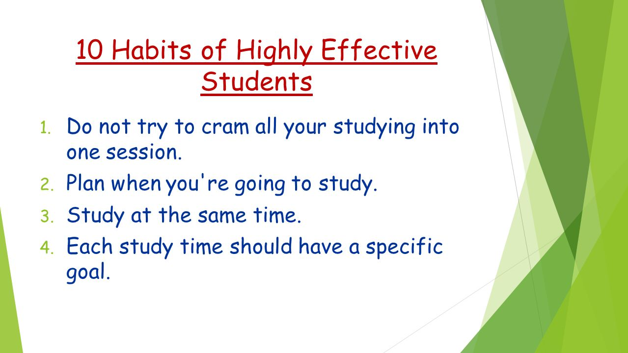 effective study habits of working students A study skills guide for students providing study skills tips,  study skills for students  while both subjects require good study habits, effective listening,.