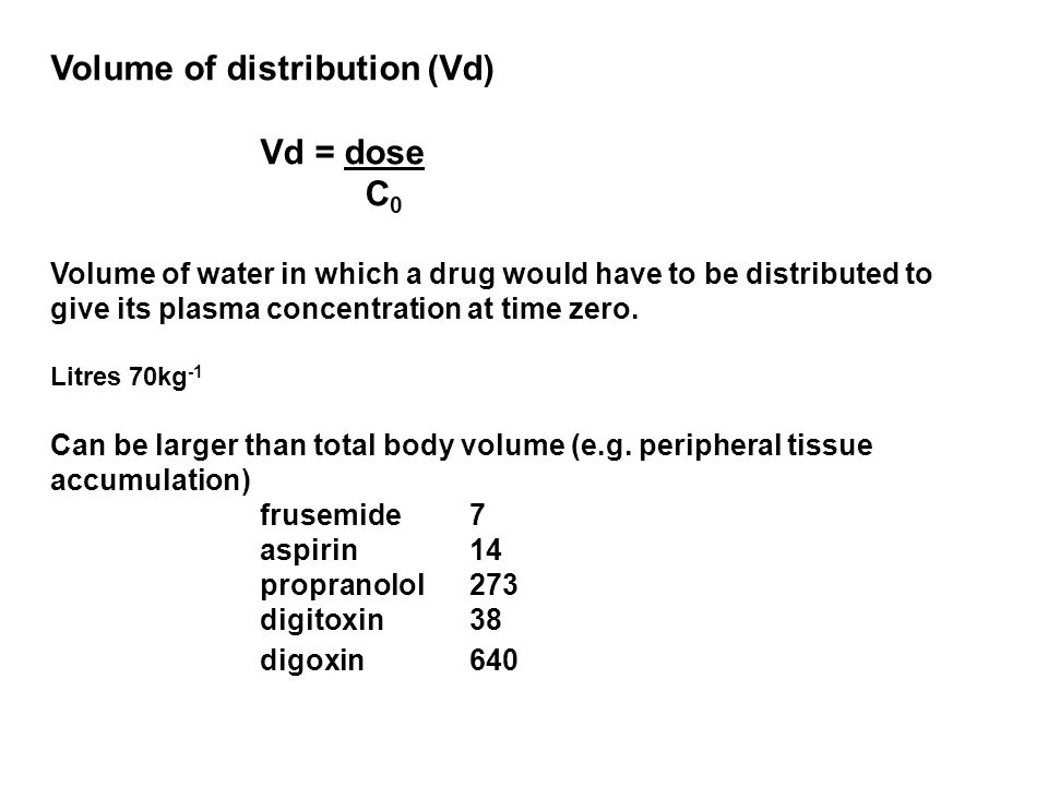 Volume of distribution (Vd) Vd = dose C0