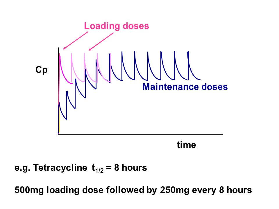 Loading doses Cp. Maintenance doses. time. e.g.
