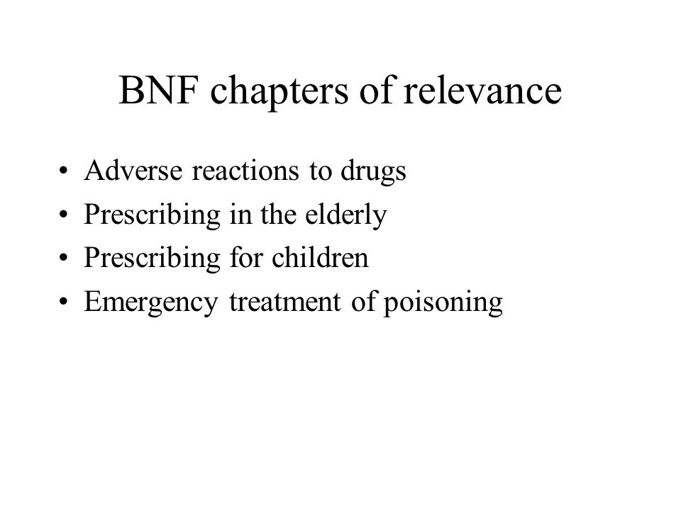 BNF chapters of relevance