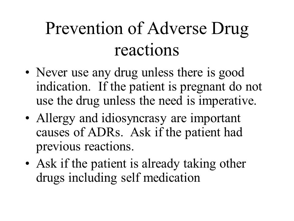 Prevention of Adverse Drug reactions